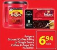 Folgers Ground Coffee 920 g or Single Serve Coffee K-cups 12s