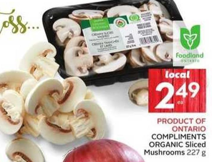 Compliments Organic Sliced Mushrooms