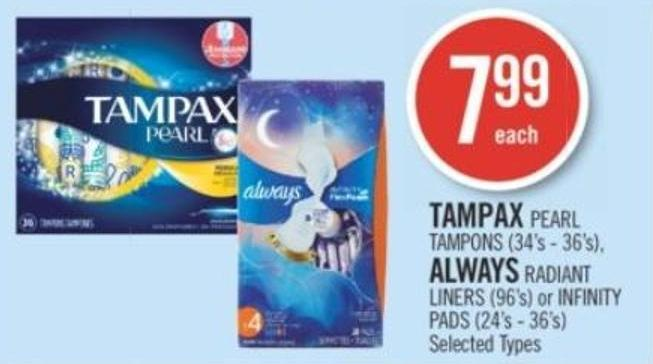 Tampax Pearl Tampons (34's - 36's) - Always Radiant Liners (96's) or Infinity Pads (24's - 36's)