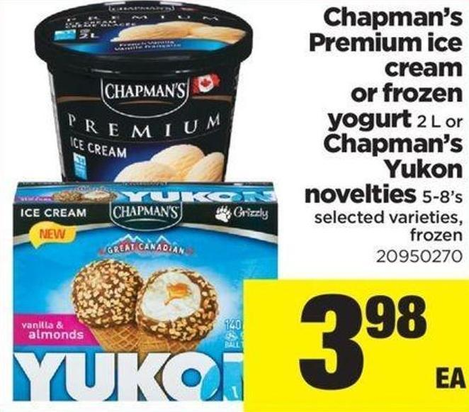 Chapman's Premium Ice Cream Or Frozen Yogurt - 2 L Or Chapman's Yukon Novelties - 5-8's
