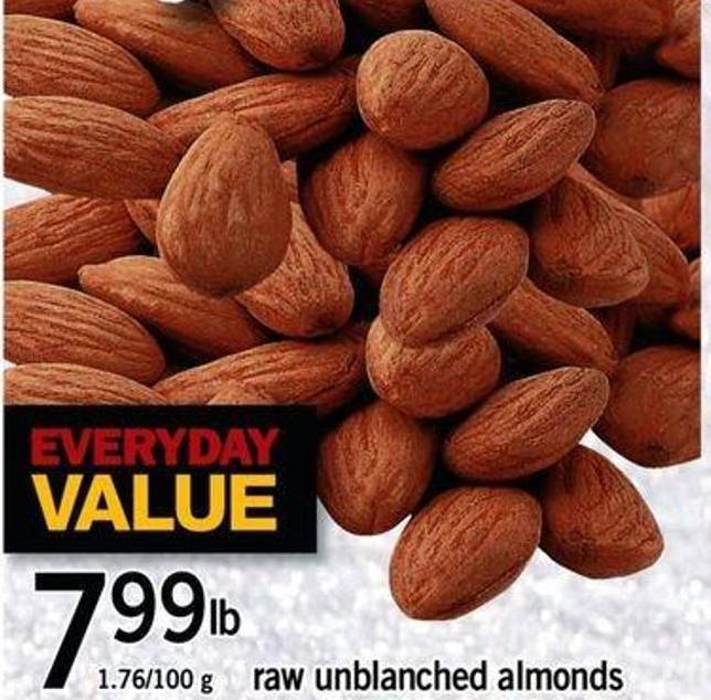 Raw Unblanched Almonds - 1.76/100 G
