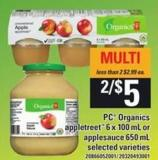 PC Organics Appletreet - 6 X 100 Ml Or Applesauce - 650 Ml