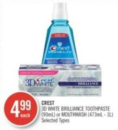 Crest   3D White Brilliance Toothpaste (90ml) or Mouthwash (473ml - 1l)