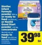 Similac Infant Formula Powder 964 G - Or Ready To Feed 12x359 Ml - Or Nestlé Good Start Powder 1.02 Kg - Concentrate 18x240 Ml Or Ready To Feed - 16x235 Ml