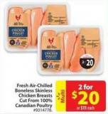 Fresh Air-chilled Boneless Skinless Chicken Breasts Cut From 100% Canadian Poultry