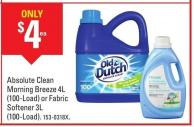 Old Dutch Absolute Clean Morning Breeze 4l (100-load) or Fabric Softener 3l (100-load)