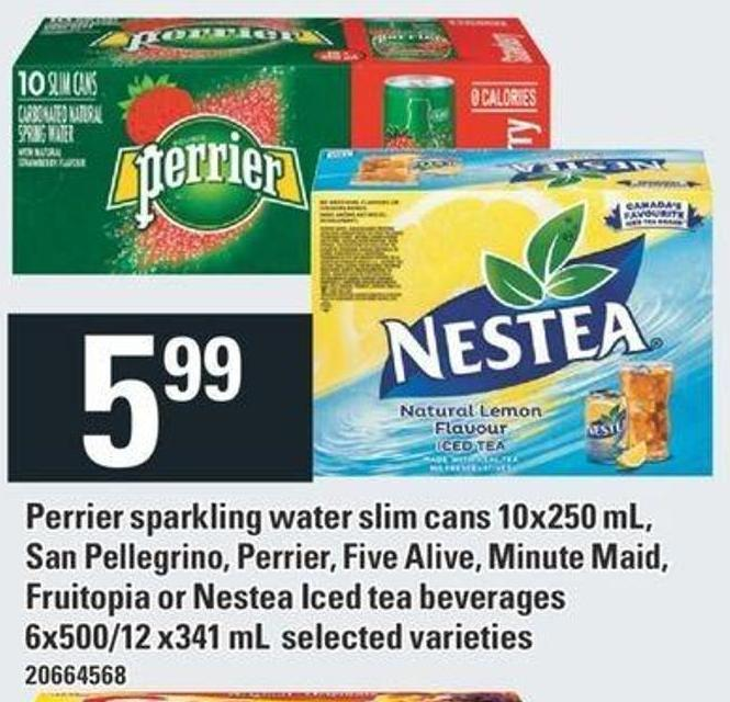 Perrier Sparkling Water Slim Cans 10x250 Ml - San Pellegrino - Perrier - Five Alive - Minute Maid - Fruitopia Or Nestea Iced Tea Beverages 6x500/12x341 Ml
