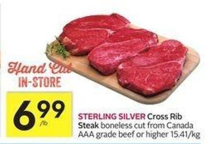 Sterling Silver Cross Rib Steak