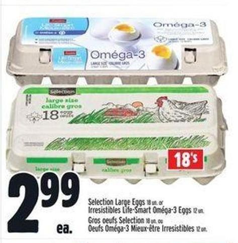 Selection Large Eggs 18 Un. Or Irresistibles Life-smart Oméga-3 Eggs 12 Un.