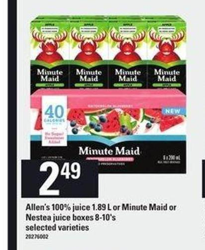 Allen's 100% Juice - 1.89 L Or Minute Maid Or Nestea Juice Boxes - 8-10's