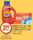 Bounce Sheets (80's) - Tide Laundry Detergent (1.09l) or Downy Fabric Softener (1.23l - 1.53l)
