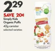 Simply Kids  Organic Puffs 42g Canister