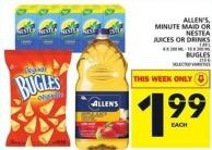 Allen's - Minute Maid Or Nestea Juices Or Drinks Or Bugles