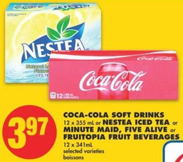 Coca-cola Soft Drinks 12 X 355 Ml Or Nestea Iced Tea Or Minute Maid - Five Alive Or Fruitopia Fruit Beverages 12 X 341ml