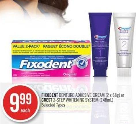 Fixodent Denture Adhesive Cream (2 X 68g) or Crest 2-step Whitening System (148ml)