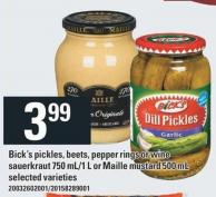 Bick's Pickles - Beets - Pepper Rings Or Wine Sauerkraut 750 Ml/1 L Or Maille Mustard 500 Ml