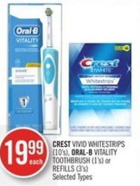 Crest Vivid Whitestrips (10's) - Oral-b Vitality Toothbrush (1's) or Refills (3's)