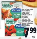 Maple Leaf Prime Raised Without Antibiotics Breaded Chicken - Chicken Wings or Stuffed Chicken Breast