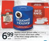 Maxwell House Ground Coffee 631-925 G - Eight O'clock Whole Bean Coffee Or Red Rose Orange Pekoe Tea 216's