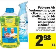 Febreze Air Freshener - 250 G - Car Clips 2/2.2 Ml - Wax Melts 77 G - Or Mr Clean Liquid All-purpose Cleaner - 1.33 L