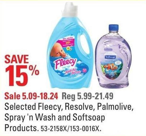 Selected Fleecy - Resolve - Palmolive - Spray 'N Wash and Softsoap Products