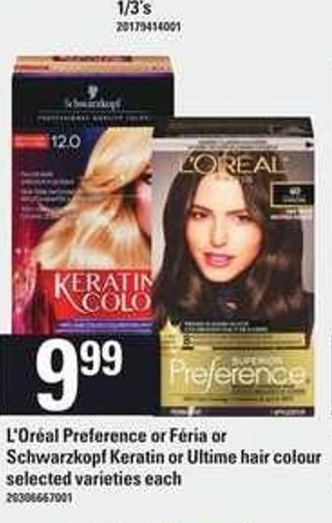 L'oréal Preference Or Féria Or Schwarzkopf Keratin Or Ultime Hair Colour