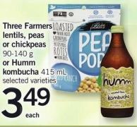 Three Farmers Lentils - Peas Or Chickpeas - 90-140 G Or Humm Kombucha - 415 Ml