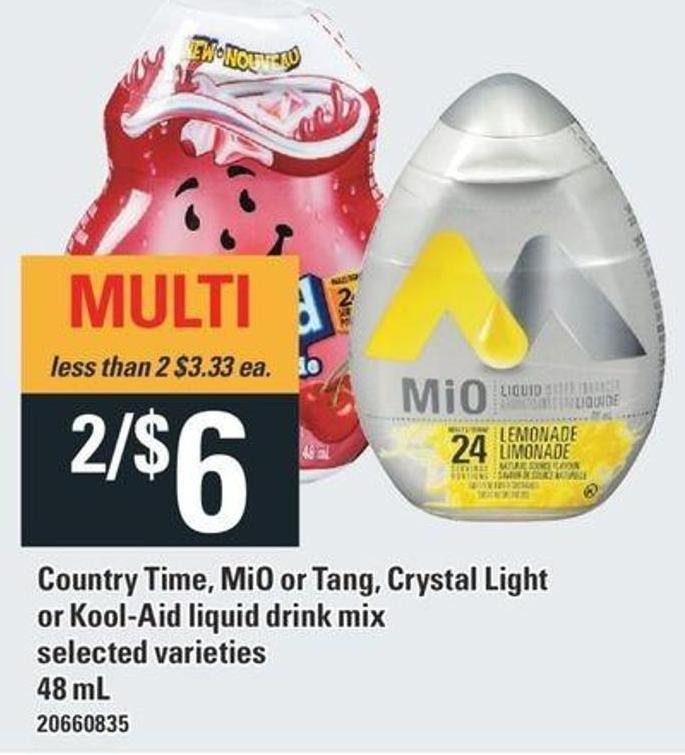 Country Time - Mio Or Tang - Crystal Light Or Kool-aid Liquid Drink Mix - 48 Ml