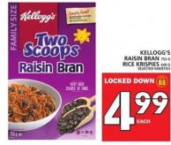 Kellogg's Raisin Bran Or Rice Krispies