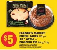 Farmer's Market Coffee Cakes - 800 g or 10in Apple or Pumpkin Pie - 960 g /1 Kg