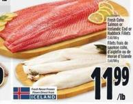 Fresh Coho Salmon Or Icelandic Cod Or Haddock Fillets 2.65/100 g