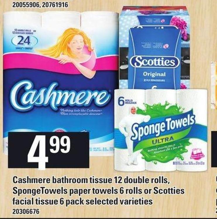 Cashmere Bathroom Tissue 12 Double Rolls - Spongetowels Paper Towels 6 Rolls Or Scotties Facial Tissue 6 Pack