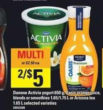 Danone Activia Yogurt 650 G - Oasis Orange Juice - Blends Or Smoothies 1.65/1.75 L Or Arizona Tea 1.65 L