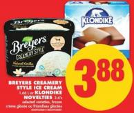 Breyers Creamery Style Ice Cream - 1.66 L or Klondike Novelties - 3-4's