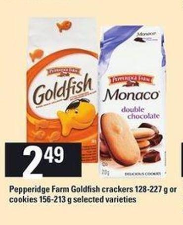 Pepperidge Farm Goldfish Crackers 128-227 g Or Cookies 156-213 g