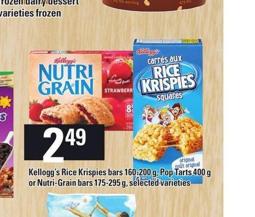 Kellogg's Rice Krispies Bars - 160-200 G - Pop-tarts - 400 G Or Nutri-grain Bars - 175-295 G