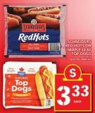 Schneiders Red Hots Or Maple Leaf Top Dogs 375 g