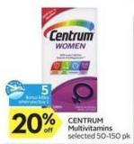 Centrum Multivitamins 5 Air Miles Bonus Miles