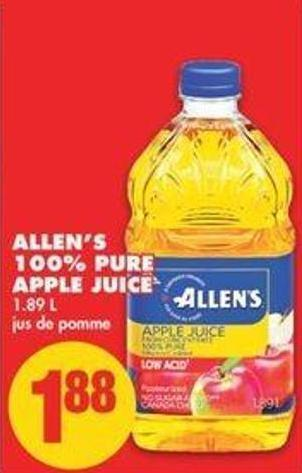 Allen's 100% Pure Apple Juice - 1.89 L