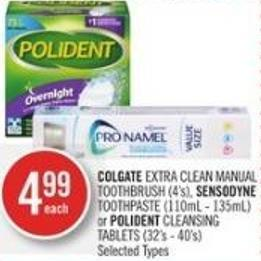 Colgate Extra Clean Manual Toothbrush (4's) - Sensodyne Toothpaste (110ml - 135ml) or Polident Cleansing Tablets (32's - 40's)