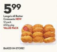 Longo's All Butter  Croissants New 12 Pack  650g Pkg