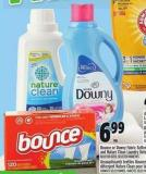 Bounce Or Downy Fabric Softeners And Nature Clean Laundry Detergent