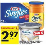 Philadelphia Cream Cheese 340 g Or Kraft Singles Or Cheez Whiz  410 - 450 G