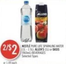Nestlé Pure Life Sparkling Water (1l - 1.5l) - Allen's (1l) or Oasis (960ml) Beverages