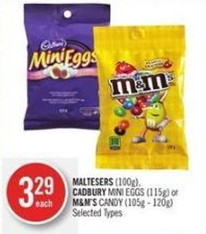 Maltesers (100g) - Cadbury Mini Eggs (115g) or M&m's Candy (105g - 120g)