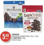 Brookside Chocolate Covered Fruit (167g - 235g) or Bark Thins (150g)