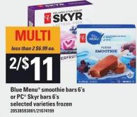 Blue Menu Smoothie Bars 6's Or PC Skyr Bars 6's