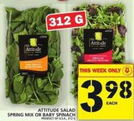Attitude Salad Spring Mix Or Baby Spinach