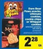 Dare Bear Paws Snacks - Ultimate Cookies - Cookie Chips Or Whippet Cookies - 125-300 g