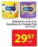 Enfamil A+ or Enfamil A+2 or Gentlease A+ Powder Tub